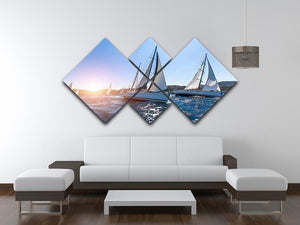 Sailing in the wind through the waves at the Sea 4 Square Multi Panel Canvas  - Canvas Art Rocks - 3