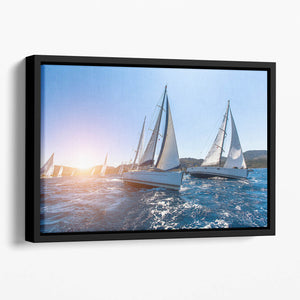Sailing in the wind through the waves at the Sea Floating Framed Canvas