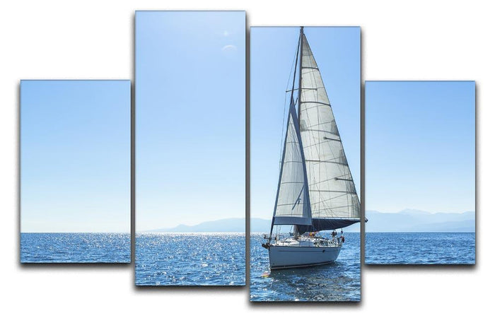 Sailing ship yachts with white sails 4 Split Panel Canvas