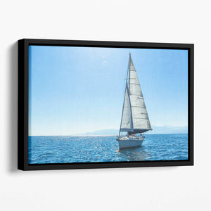Sailing ship yachts with white sails Floating Framed Canvas