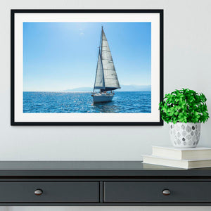 Sailing ship yachts with white sails Framed Print - Canvas Art Rocks - 1