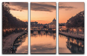 Saint Angelo Bridge and Tiber River in the sunset 3 Split Panel Canvas Print - Canvas Art Rocks - 1