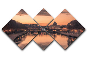 Saint Angelo Bridge and Tiber River in the sunset 4 Square Multi Panel Canvas  - Canvas Art Rocks - 1
