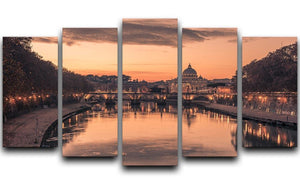 Saint Angelo Bridge and Tiber River in the sunset 5 Split Panel Canvas  - Canvas Art Rocks - 1