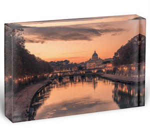 Saint Angelo Bridge and Tiber River in the sunset Acrylic Block - Canvas Art Rocks - 1