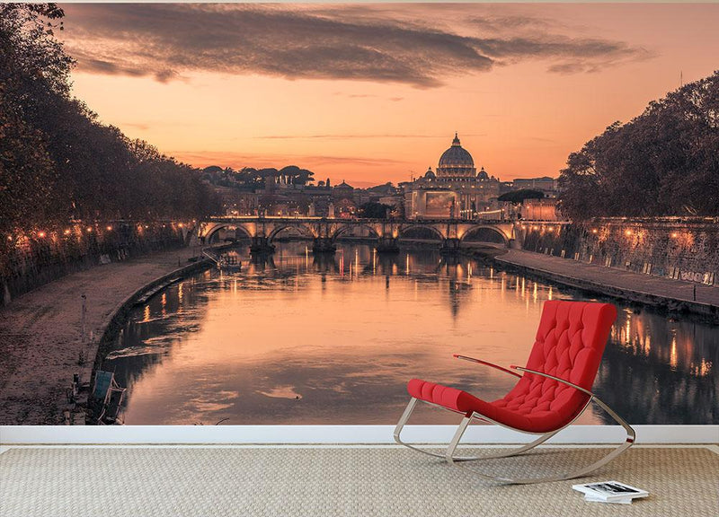 Saint Angelo Bridge and Tiber River in the sunset Wall Mural Wallpaper - Canvas Art Rocks - 1