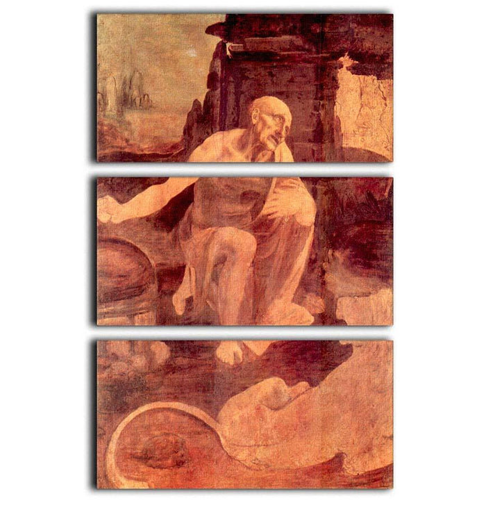 Saint Hieronymus by Da Vinci 3 Split Panel Canvas Print