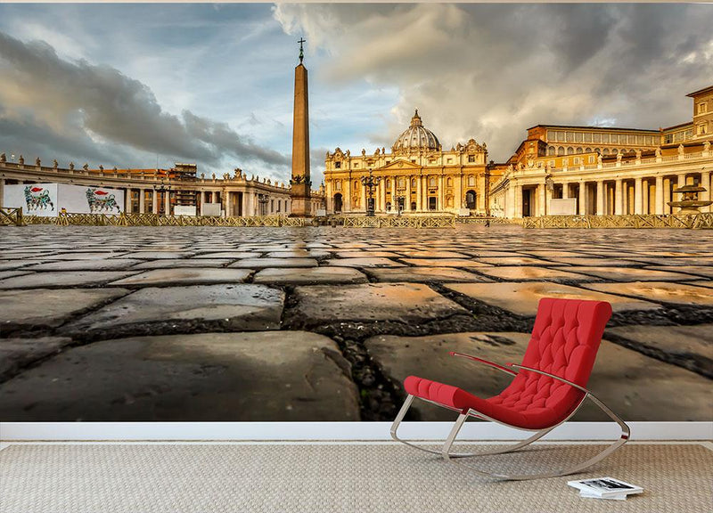 Saint Peter Basilica in the Morning Wall Mural Wallpaper - Canvas Art Rocks - 1