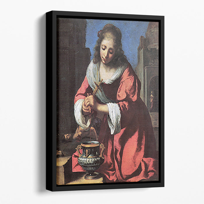 Saint Praxedis by Vermeer Floating Framed Canvas
