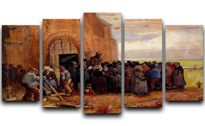 Sale of Building Scrap by Van Gogh 5 Split Panel Canvas