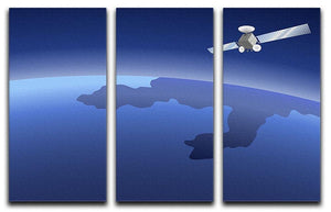Satellite orbiting around the planet through the space 3 Split Panel Canvas Print - Canvas Art Rocks - 1