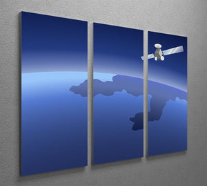 Satellite orbiting around the planet through the space 3 Split Panel Canvas Print - Canvas Art Rocks - 2
