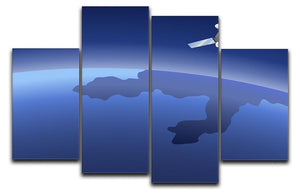 Satellite orbiting around the planet through the space 4 Split Panel Canvas  - Canvas Art Rocks - 1