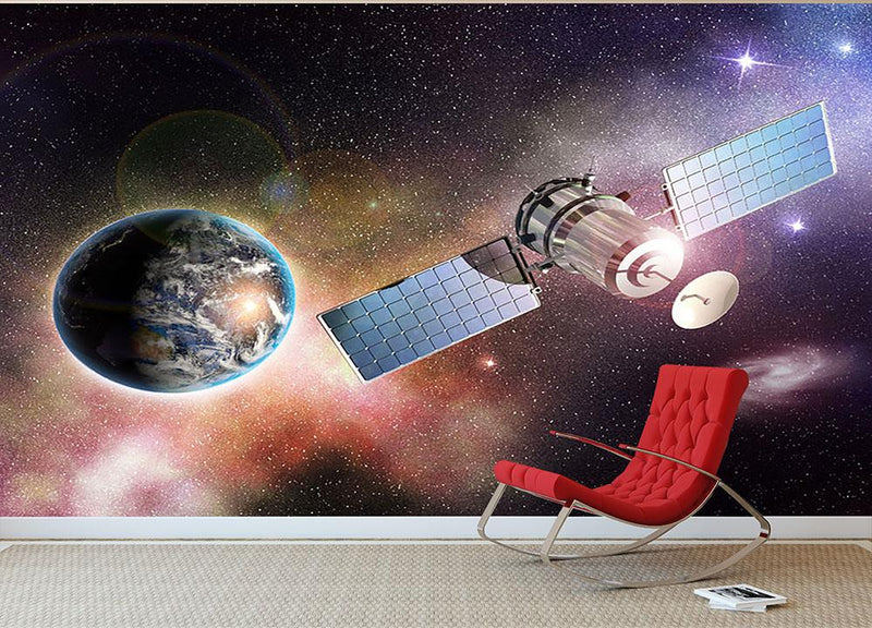 Satellite orbiting the earth in the outer space Wall Mural Wallpaper - Canvas Art Rocks - 1