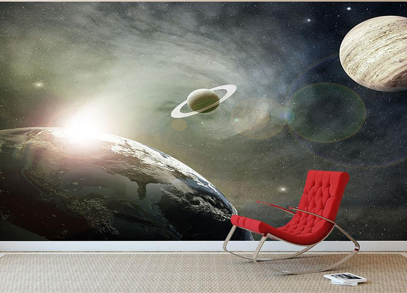 Saturn and Jupiter in a Cosmic Cloud Wall Mural Wallpaper - Canvas Art Rocks - 1