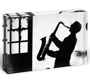 Saxophone player Acrylic Block - Canvas Art Rocks - 1