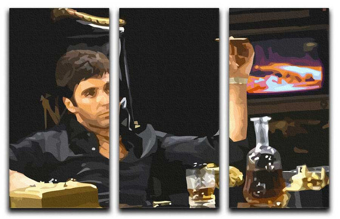 Scarface At His Desk With Cigar 3 Split Panel Canvas Print