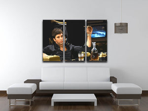 Scarface At His Desk With Cigar 3 Split Panel Canvas Print - Canvas Art Rocks