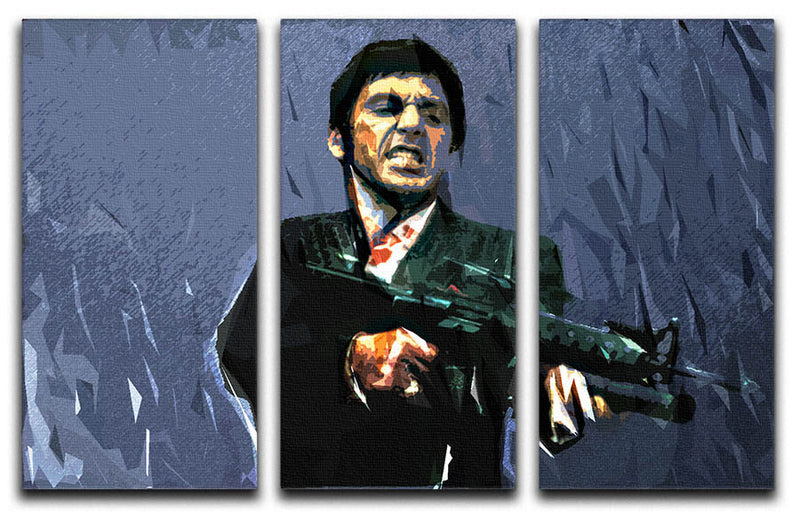 Scarface Machine Gun 3 Split Panel Canvas Print - Canvas Art Rocks