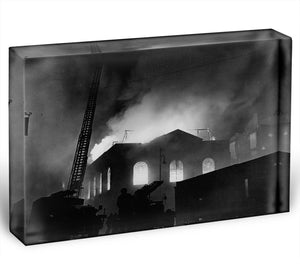 School ablaze Hatton Garden London Acrylic Block - Canvas Art Rocks - 1