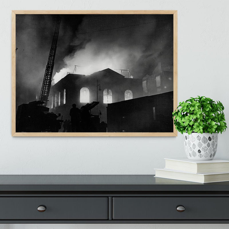 School ablaze Hatton Garden London Framed Print - Canvas Art Rocks - 4