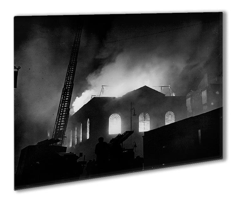 School ablaze Hatton Garden London Outdoor Metal Print - Canvas Art Rocks - 1