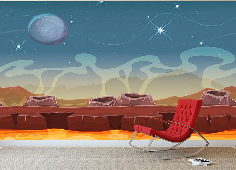Sci-Fi Alien Planet Wall Mural Wallpaper - Canvas Art Rocks - 1