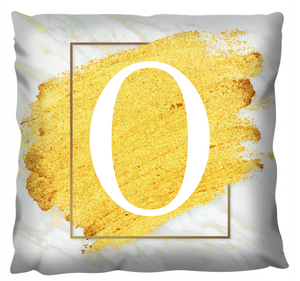 Gold Glitter Monogram Cushion - Linen