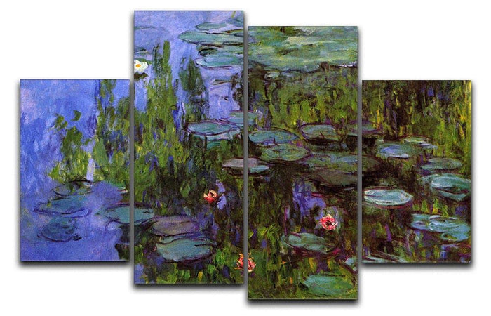 Sea roses by Monet 4 Split Panel Canvas