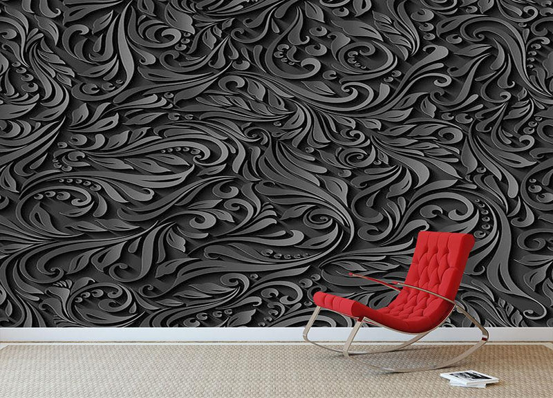 Seamless abstract black floral Wall Mural Wallpaper - Canvas Art Rocks - 1