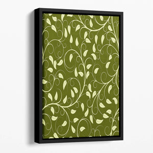 Seamless pattern from green plants Floating Framed Canvas