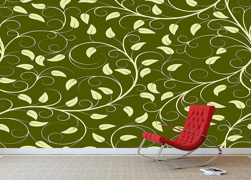 Seamless pattern from green plants Wall Mural Wallpaper - Canvas Art Rocks - 1