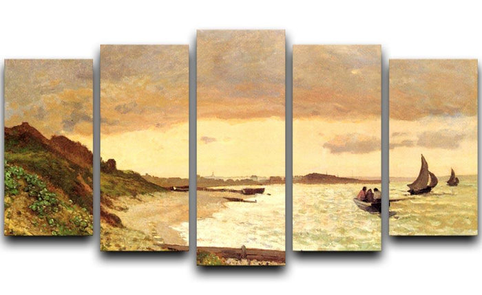 Seaside at Sainte Adresse by Monet 5 Split Panel Canvas