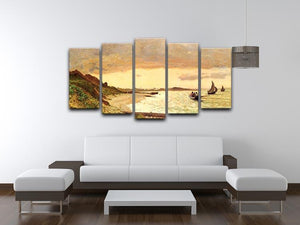 Seaside at Sainte Adresse by Monet 5 Split Panel Canvas - Canvas Art Rocks - 3