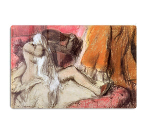 Seated female nude on a chaise lounge by Degas HD Metal Print - Canvas Art Rocks - 1