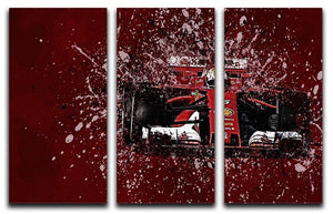 Sebastian Vettel F1 Paint Splatter 3 Split Panel Canvas Print - Canvas Art Rocks - 1