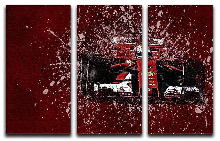 Sebastian Vettel F1 Paint Splatter 3 Split Panel Canvas Print