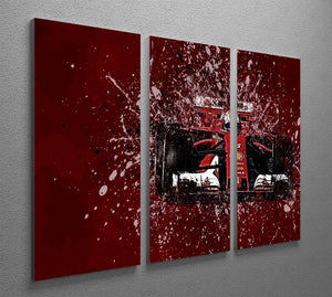 Sebastian Vettel F1 Paint Splatter 3 Split Panel Canvas Print - Canvas Art Rocks - 2