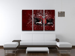 Sebastian Vettel F1 Paint Splatter 3 Split Panel Canvas Print - Canvas Art Rocks - 3