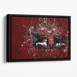 Sebastian Vettel F1 Paint Splatter Floating Framed Canvas