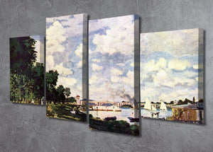 Seine basin near Argenteuil by Monet 4 Split Panel Canvas - Canvas Art Rocks - 2