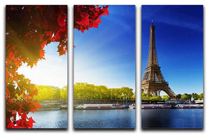 Seine in Paris with Eiffel tower 3 Split Panel Canvas Print - Canvas Art Rocks - 1