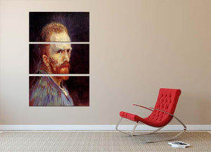 Self-Portrait 9 by Van Gogh 3 Split Panel Canvas Print - Canvas Art Rocks - 2
