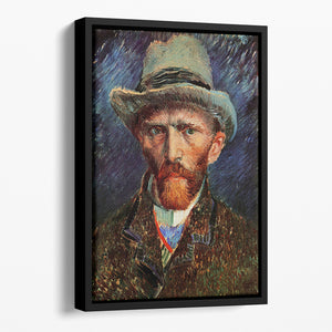 Self-Portrait with Grey Felt Hat by Van Gogh Floating Framed Canvas