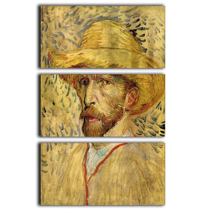Self-Portrait with Straw Hat 2 by Van Gogh 3 Split Panel Canvas Print