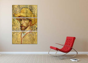 Self-Portrait with Straw Hat 2 by Van Gogh 3 Split Panel Canvas Print - Canvas Art Rocks - 2