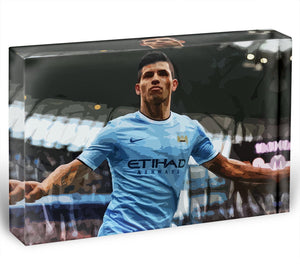 Sergio Aguero Manchester City Acrylic Block - Canvas Art Rocks - 1