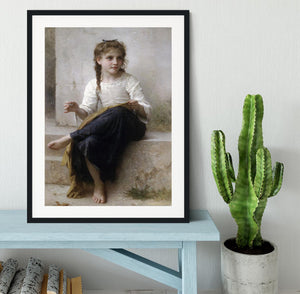 Sewing By Bouguereau Framed Print - Canvas Art Rocks - 1