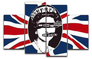Sex Pistols God Save The Queen 4 Split Panel Canvas  - Canvas Art Rocks - 1