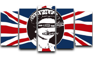 Sex Pistols God Save The Queen 5 Split Panel Canvas  - Canvas Art Rocks - 1